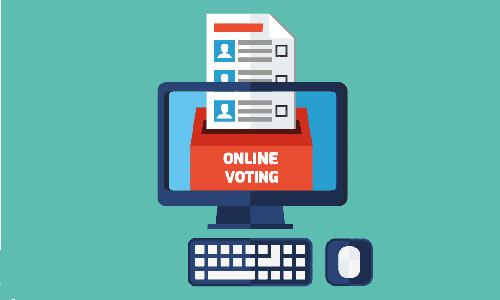 online voting ballot box, illustration
